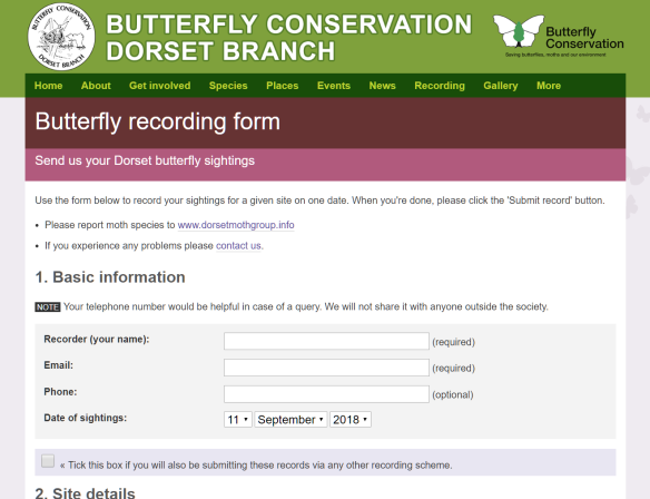 Butterfly recording form