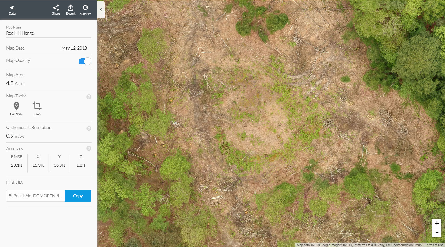 Orthomosaic map imagery