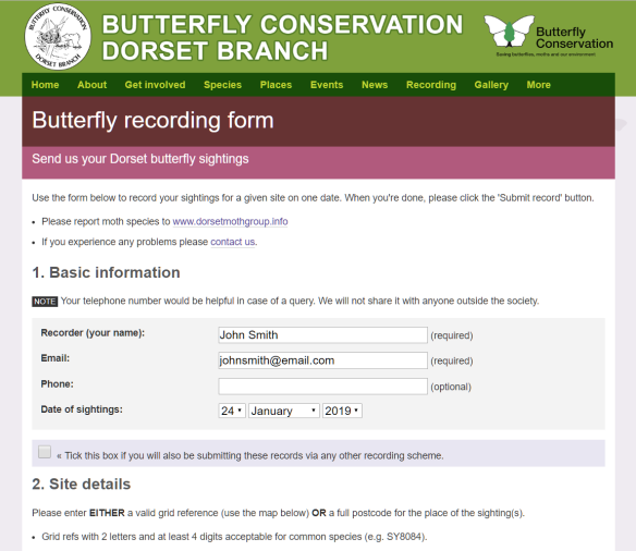 Butterfly recording form: recorder info